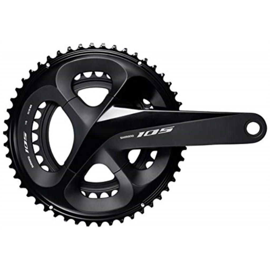 SHIMANO 105 Double Road Bicycle Crank Set - FC-R7000 (Black - 175MM, 53-39T W/O CG, W/O BB Parts)