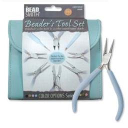 The Beadsmith Fashion Color Plier Set and Clutch, 8-Piece Beader's Tool Kit (Light Blue)
