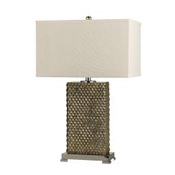 3 Way Table Lamp with Studded Diamond Pattern Ceramic Base, Cream and Gold