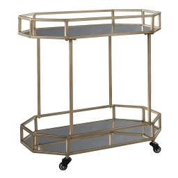 Octagonal Metal Bar Cart with Mirrored Top and Bottom, Silver and Gold