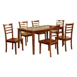 7 Piece Wooden Dining Table Set With Marble Top In Oak Brown