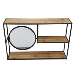 Metal Wall Storage with 3 Wooden Shelves and Round Mirror, Brown and Black