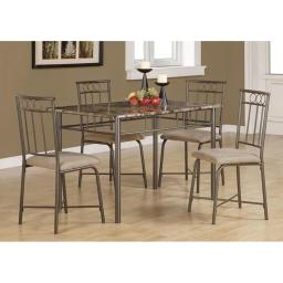 Offex OFX-284074-MO Cappuccino Marble/Bronze Metal 5 Piece Dining Set