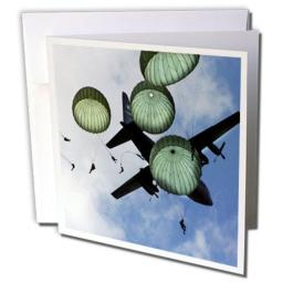 3dRose Paratroopers - Greeting Cards, 6 x 6 inches, set of 6 (gc_50923_1)