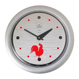 """Morning Rooster -Sleek Silver Frame-14"""" Fashion Wall Clock"""