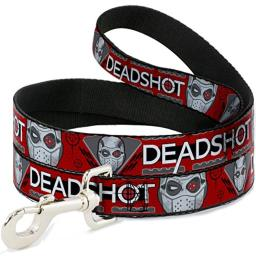 Buckle Down DL-6FT-WDC026-N Red/Gray/Black/White Suicide Squad Pet Leash, 6 Feet Long-1/2 Wide