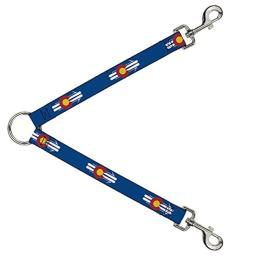 Buckle Down Dog Leash Splitter Colorado Logo Skis Blue White Red Yellow 1 Foot Long 1 Inch Wide