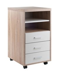 Winsome Kenner Mobile Storage Cabinet, 3 Drawers, 2 Shelves, Reclaimed Wood/White Finish