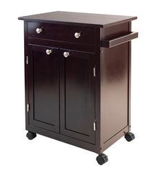 Winsome Savannah Solid Wood Kitchen Cart - Espresso