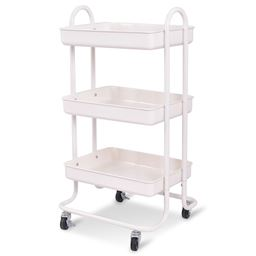Ivory 3 Tiers Rolling Kitchen Trolley Cart