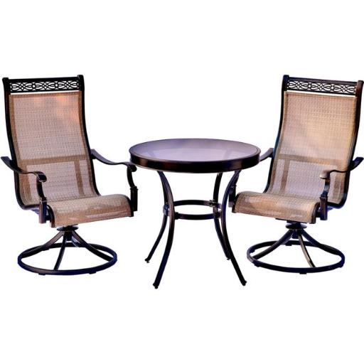 Hanover MONDN3PCSWG Monaco Bistro Set with Swivel Rockers & Glass-Top Table -3 Piece