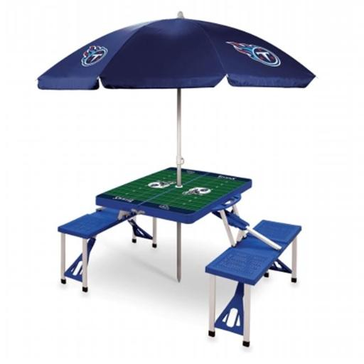 Picnic Time 811-02-139-315-2 Sport Table with Umbrella Tennessee Titans Digital Print, Blue
