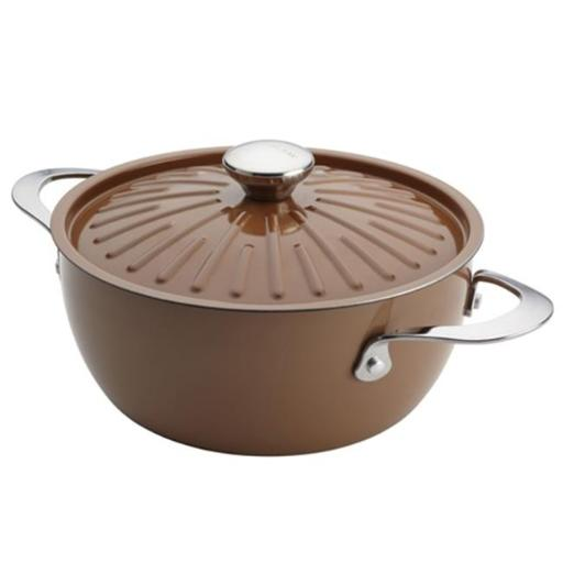 Rachael Ray 16289 Cucina Oven-To-Table Hard Enamel Nonstick 4.5-Quart Covered Round Casserole, Mushroom Brown