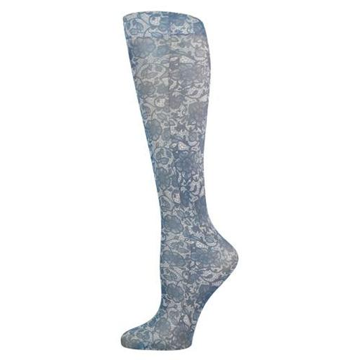 Complete Medical Blue Jay Fashion Socks (Pr) Navy Lace 8-15Mmhg