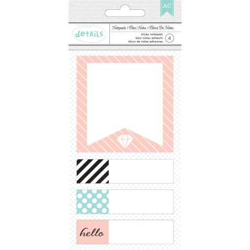 Designer Desktop Essentials Sticky Note Pads 4/Pkg-Hello, Approx. 100 Per Pad
