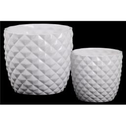 Urban Trends Collection 44229 Ceramic Round Pot with Embossed Diamond Pattern & Tapered Bottom, Gloss & White - Set of 2