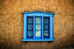 Northern New Mexican Windows, New Mexico, Blue Deep-Seated Window On Adobe Wall. PosterPrint DPI1974852