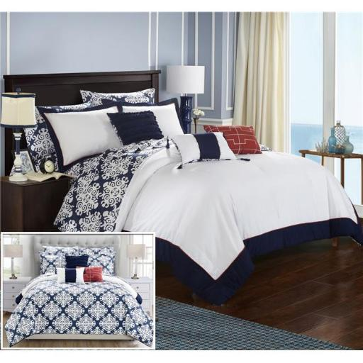 Chic Home CS2187-US Olympia Reversible Medallion Printed Plush Hotel Collection Bed in a Bag Comforter Set with Sheets - Navy & White - Queen - 10 Pie