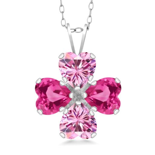 Gem Stone King 925 Sterling Silver Pendant Heart Shape Pink Created  Moissanite and Created Sapphire Pink 1 60ct (DEW)
