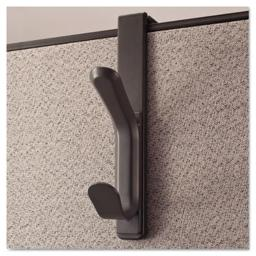 Universal 08607 Recycled Cubicle Double Coat Hook, Plastic, Charcoal