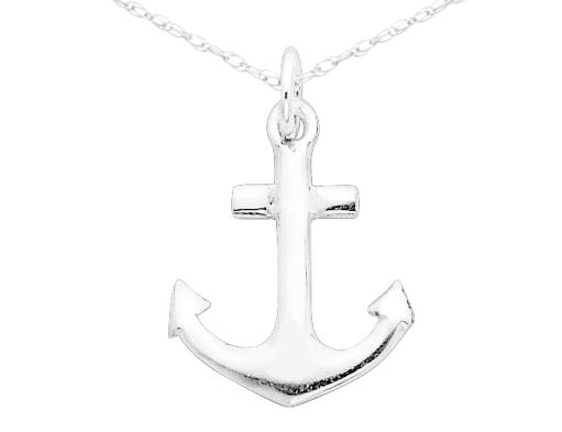 Anchor Charm Pendant Necklace in Sterling Silver with Chain