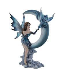 Blue Fairy and Baby Dragon On Crescent Moon Statue