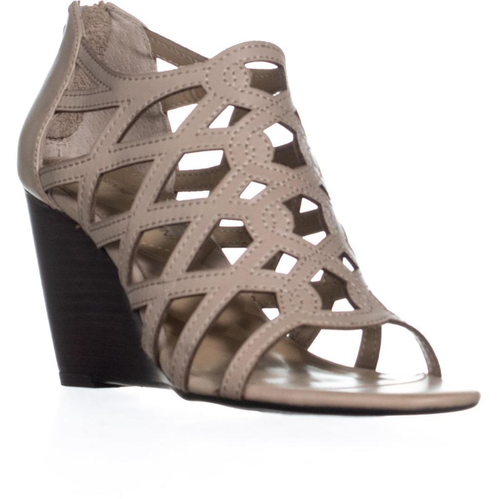 Adrienne Vittadini Alby Caged Wedge Sandals, Soft Wheat