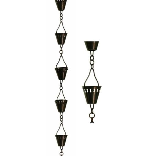 Patina Products 8.5ft. Antique Copper Shade Cup Rain Chain R257