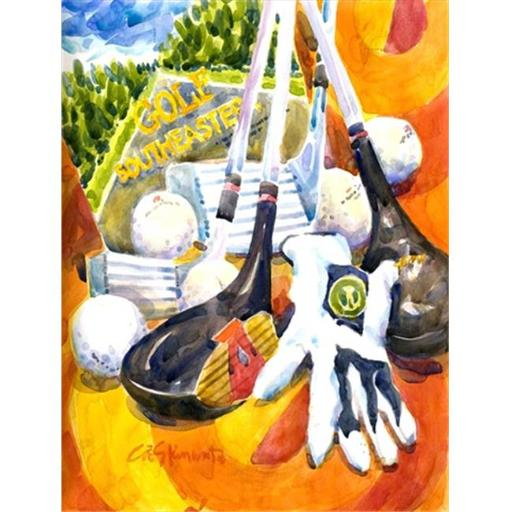 28 x 40 in. Southeastern Golf Clubs With Glove And Balls Flag Canvas House Size