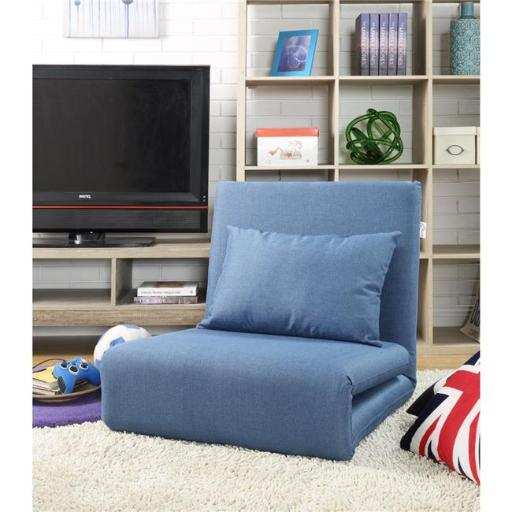 Loungie Relaxie Linen 5-Position Adjustable Convertible Flip Chair Sleeper Dorm Bed Couch Lounger Sofa - Blue