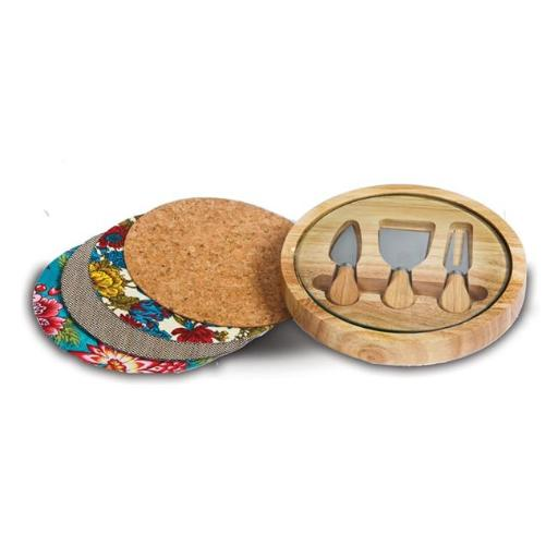 Picnic Plus PSM-191 Round cheeseboard with interchangeable inserts - Wood