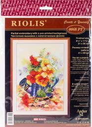 """Garden Watering Can Stamped Cross Stitch Kit 8.25""""X11.75"""" 14 Count R0068PT"""