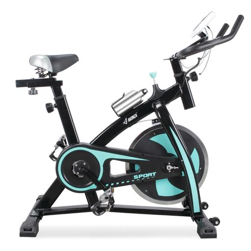 AKONZA Exercise Bike Indoor Chain Driven Cycling Stationary Bicycle with Flywheel, Pulse, Water Bottle (Turquoise Blue)