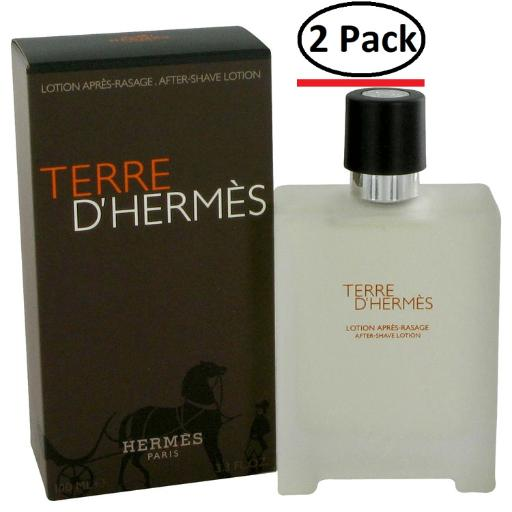 Terre D'Hermes by Hermes After Shave Lotion 3.4 oz for Men (Package of 2) Hermes Terre D'Hermes harkens to the scent of a natural man living in splendor. This elegant fragrance debuted on the market in 2006 and quickly defined itself as a leading industry standard. We are pleased to sell Hermes Terre d'Hermes products, including Terre d'Hermes cologne.