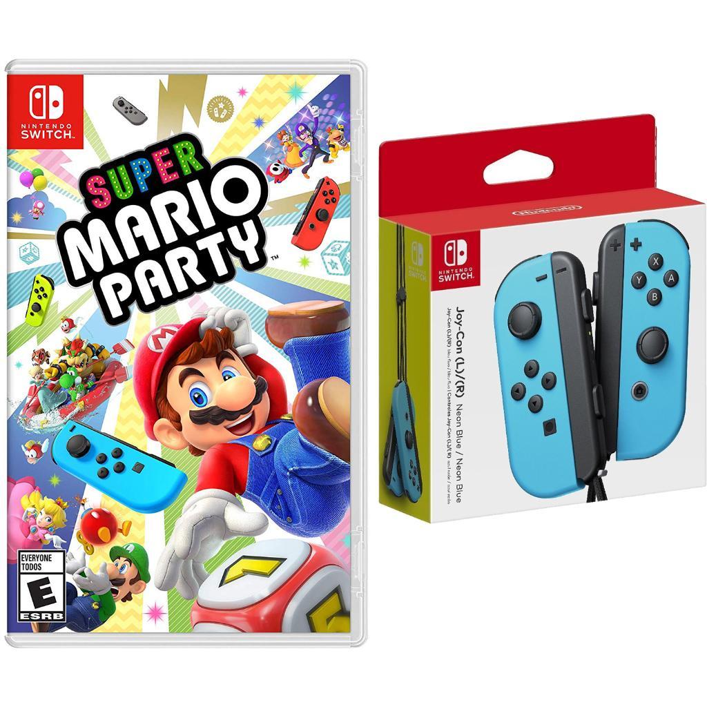 Nintendo Switch Super Mario Party and Neon Blue Joy Con Controllers Bundle