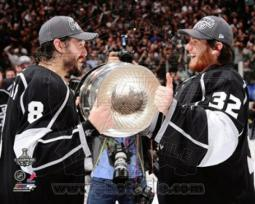 Drew Doughty & Jonathan Quick with the Stanley Cup Trophy after Winning Game 6 of the 2012 Stanley Cup Finals Sports Photo PFSAAOY14001