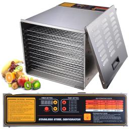 Yescom 1200W 10 Tray Stainless Steel Digital Food Jerky Fruit Dehydrator with 10 Stainless Steel Shelves Digital Timer