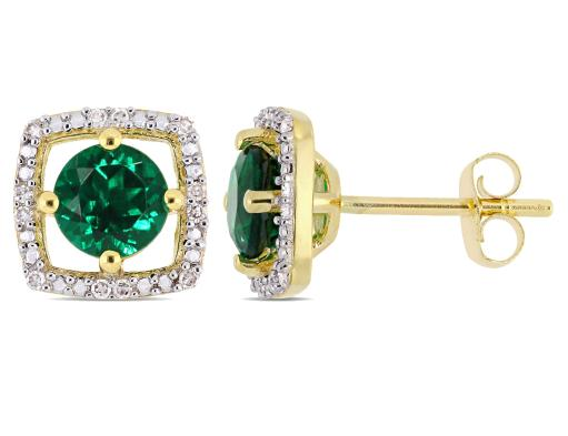 1.00 Carat (ctw) Lab Created Emerald Halo Earrings in 10K Yellow Gold with Diamonds