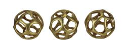 Metallic Gold Finish Wavy Cutout Decor Ball Figurine Set of 3