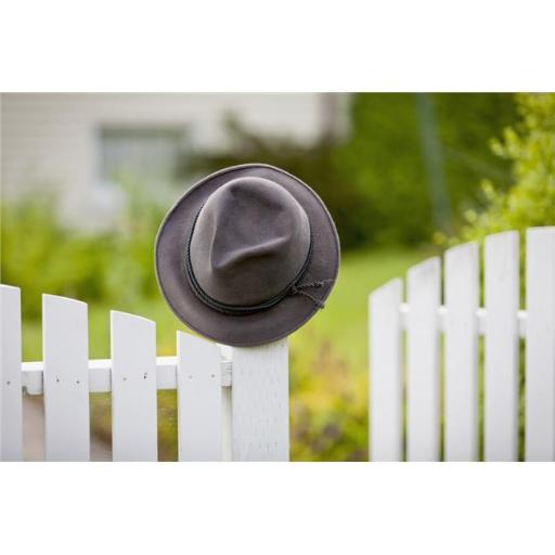A Hat Hanging on The Post of A White Picket Fence - Vancouver British Columbia Canada Poster Print - 19 x 12 in.