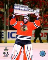 Corey Crawford with the Stanley Cup Game 6 of the 2015 Stanley Cup Finals Sports Photo PFSAASB14001