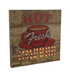 Hot Fresh LED Lighted Coffee Vintage Finish Canvas Wall Hanging