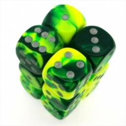 Chessex Manufacturing 26654 D6 Cube Gemini Set Of 12 Dice, 16 mm - Green & Yellow With Silver Numbering