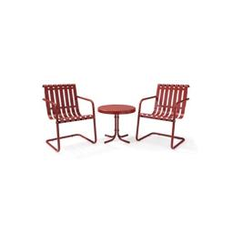 Crosley KO10007RE Gracie 3 Piece Metal Outdoor Conversation Seating Set - 2 Chairs and Side Table in Coral Red