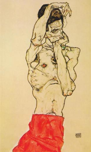 Standing male nude with red loincloth 1914 Poster Print by Egon Schiele 8SJBYZUKM4RDXPJC