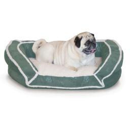 K&H Pet Products 7316 Green K&H Pet Products Deluxe Bolster Couch Pet Bed Small Green 21 X 30 X 7