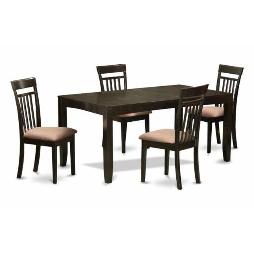 East West Furniture LYCA5-CAP-C 5 Piece Dining Room Set-Dining Room Table With Leaf Plus 4 Kitchen Chairs