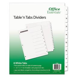 Table 'N Tabs Dividers 8-Tab 1 To 8 11 X 8.5 White 1 Set   Total Quantity: 1