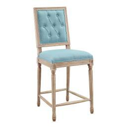 Linon Avalon Blue Tufted Square Back Counter Stool