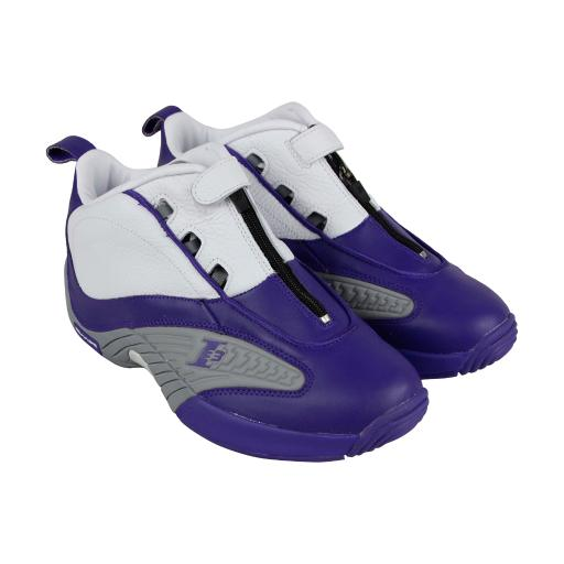 43de9e50b28f8 Reebok Reebok Answer Iv Pe Mens Purple Leather Athletic Lace Up Training  Shoes